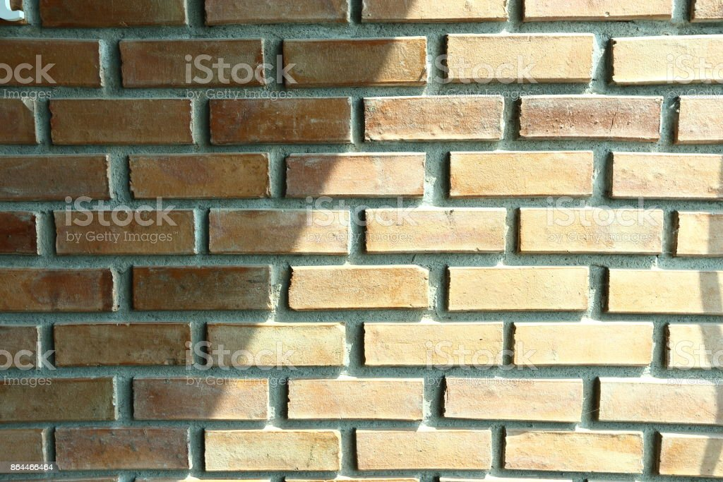 Red Brig Stone Wall With Shadow Lighting From Window Stock Photo ...