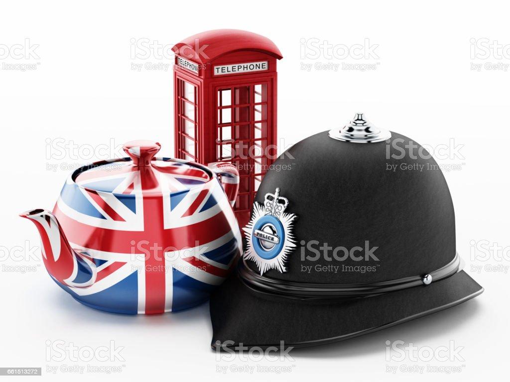 Cabine de telefone vermelha britânica, chapéu de polícia tradicional e Reino Unido bandeira chaleira texturizada isolada no branco - foto de acervo