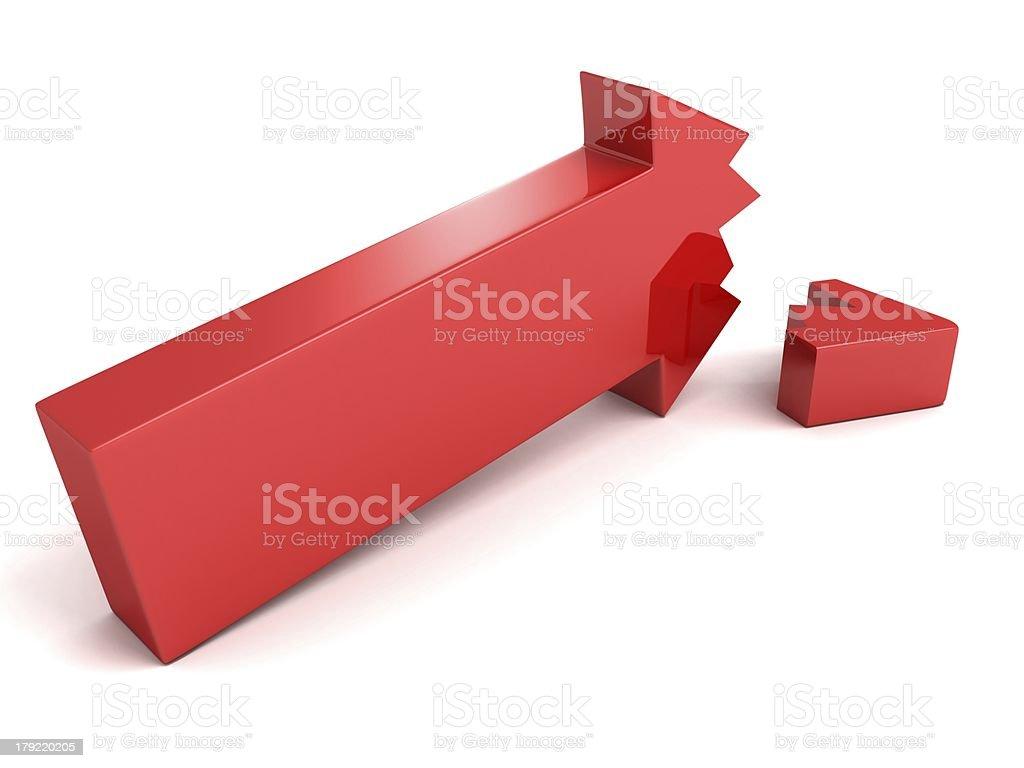 Red Broken Crisis Arrow On White Background stock photo