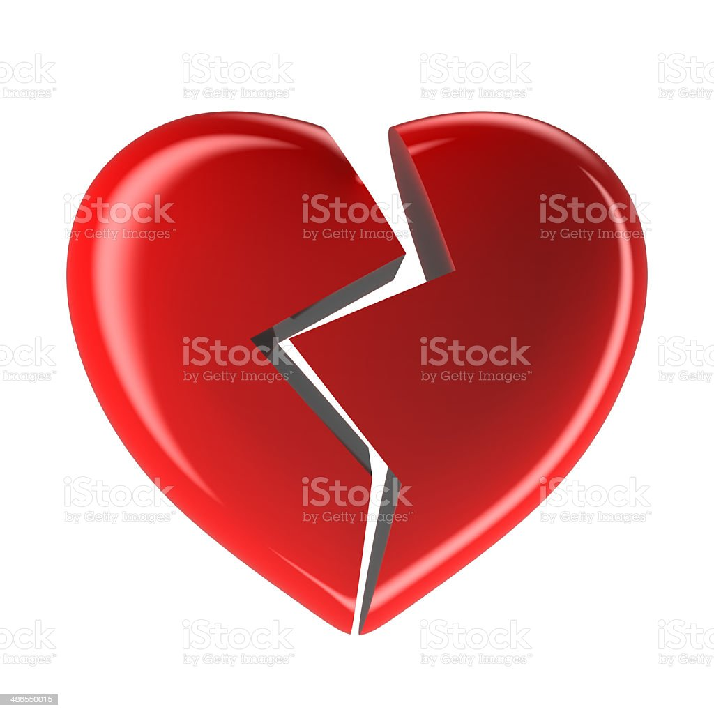 Red broken heart isolated on white background stock photo