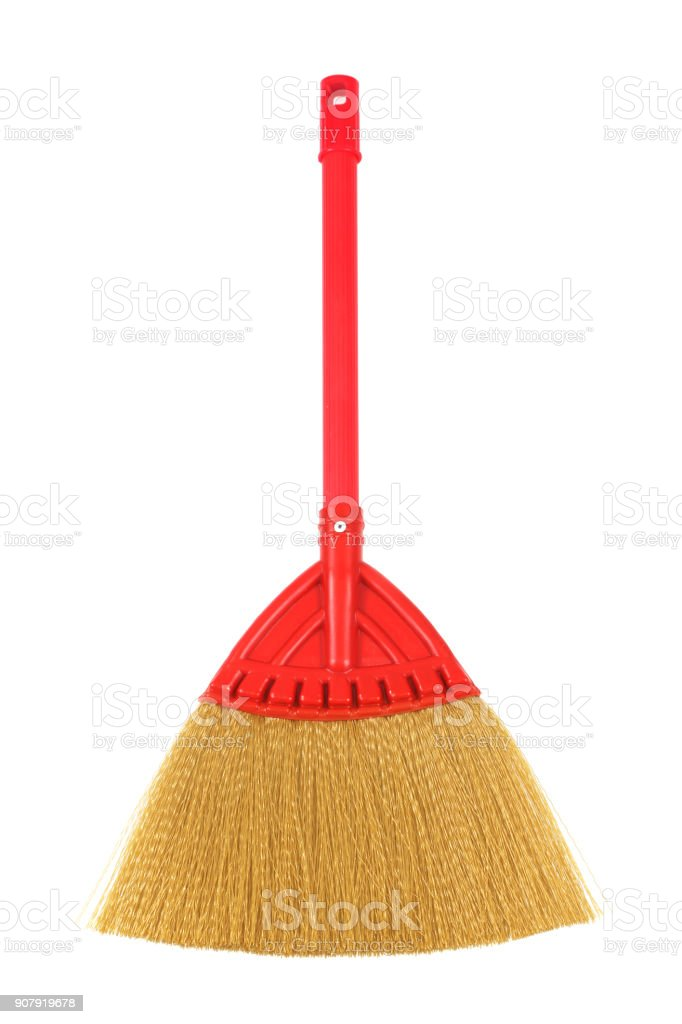 red broom on white background stock photo