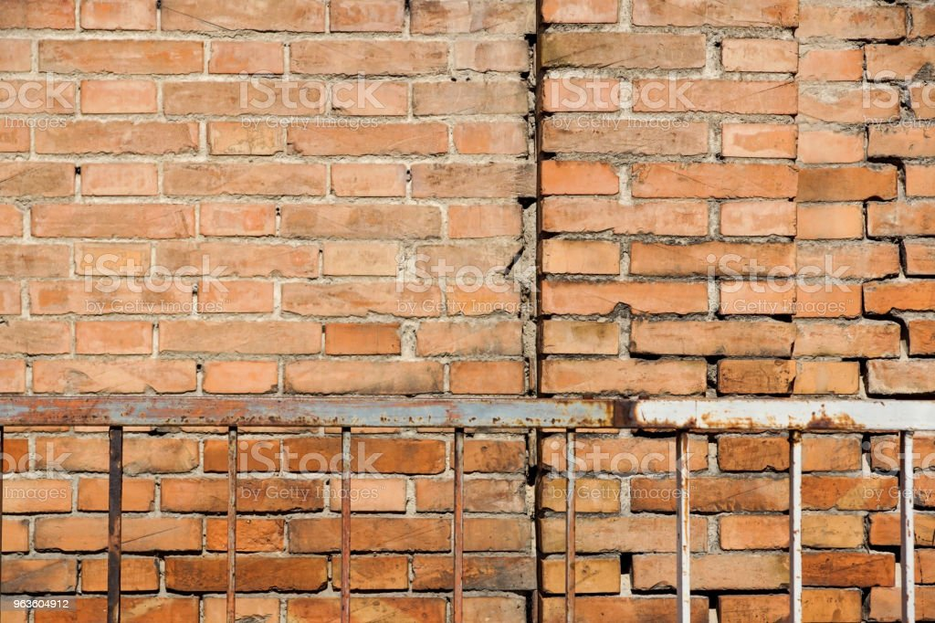 Red brown block brick wall Beautifully arranged texture background. - foto stock