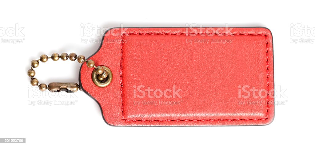 Red Brown Leather Tag Label in White background stock photo