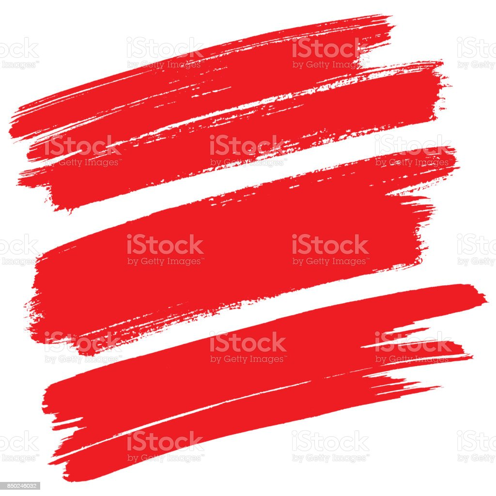 Traçados de pincel vermelho isolados - foto de acervo