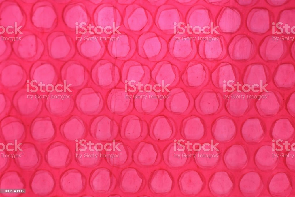 Red Bubble Wrap Close Up Abstract stock photo