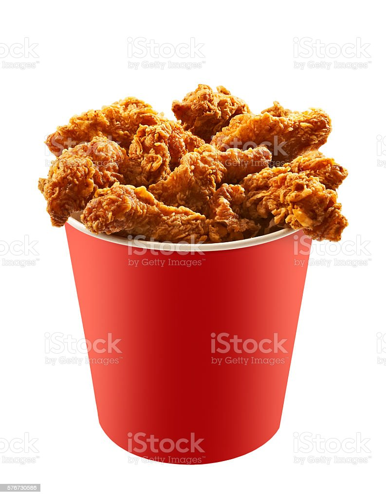 Red bucket of fried chicken on white background 2 - Photo