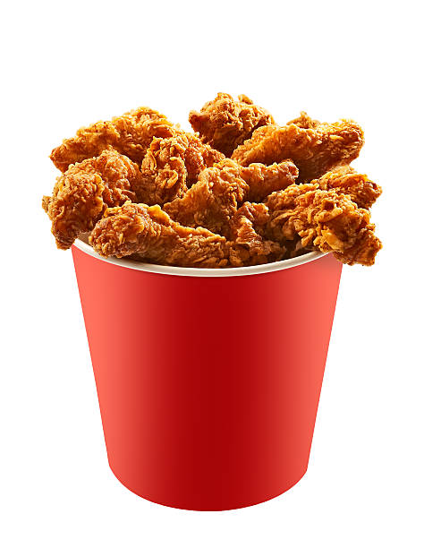 Red bucket of fried chicken on white background 2 stock photo