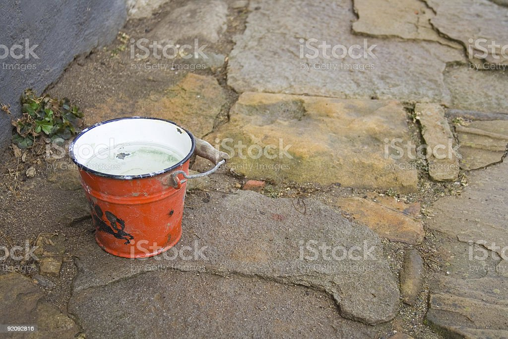 Red bucket stock photo