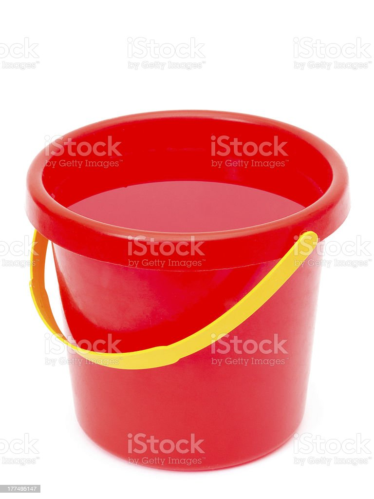 red bucket with water stock photo