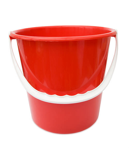Red bucket with white handle and white background stock photo