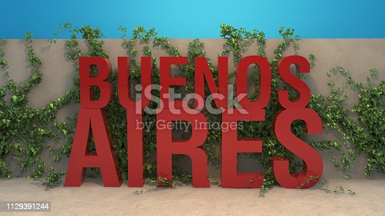 istock Red Buenos Aires title in front of ivy covered wall 3D render 1129391244