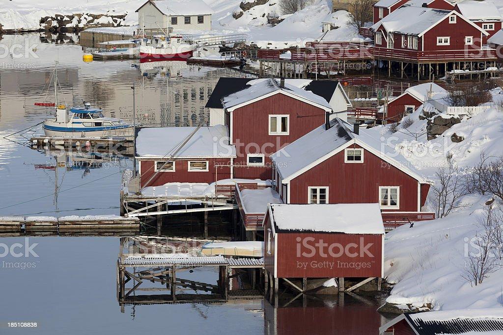 Red Buildings of Reine, Norway royalty-free stock photo