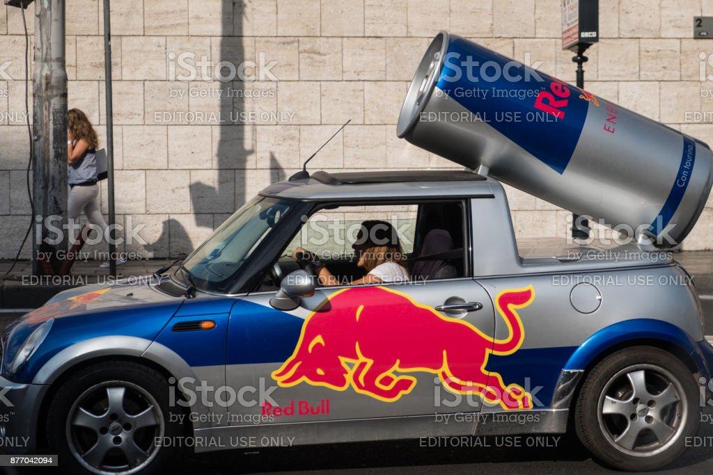 Red Bull advertisement car stock photo