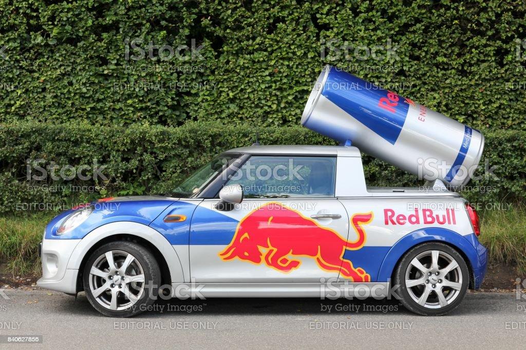 Red Bull advertising Mini Cooper car in Denmark stock photo