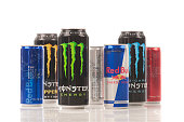 Red Bull and Monster energy drinks