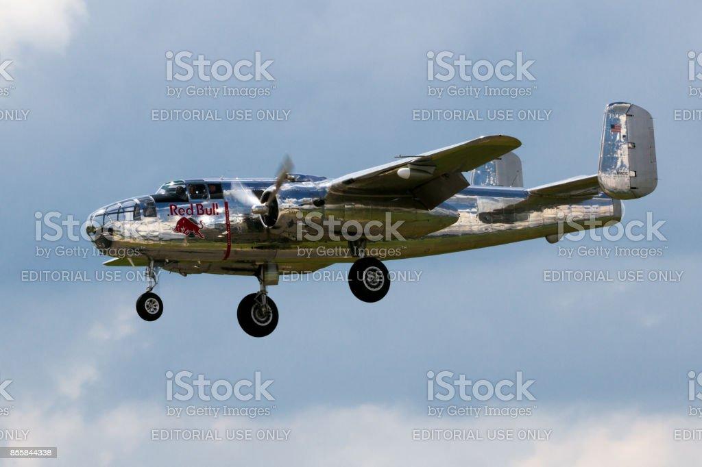 Red Bull B-25 Mitchell stock photo