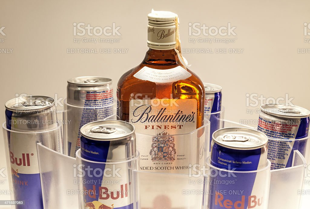 Red Bull Cans and Ballantine's Whiskey stock photo