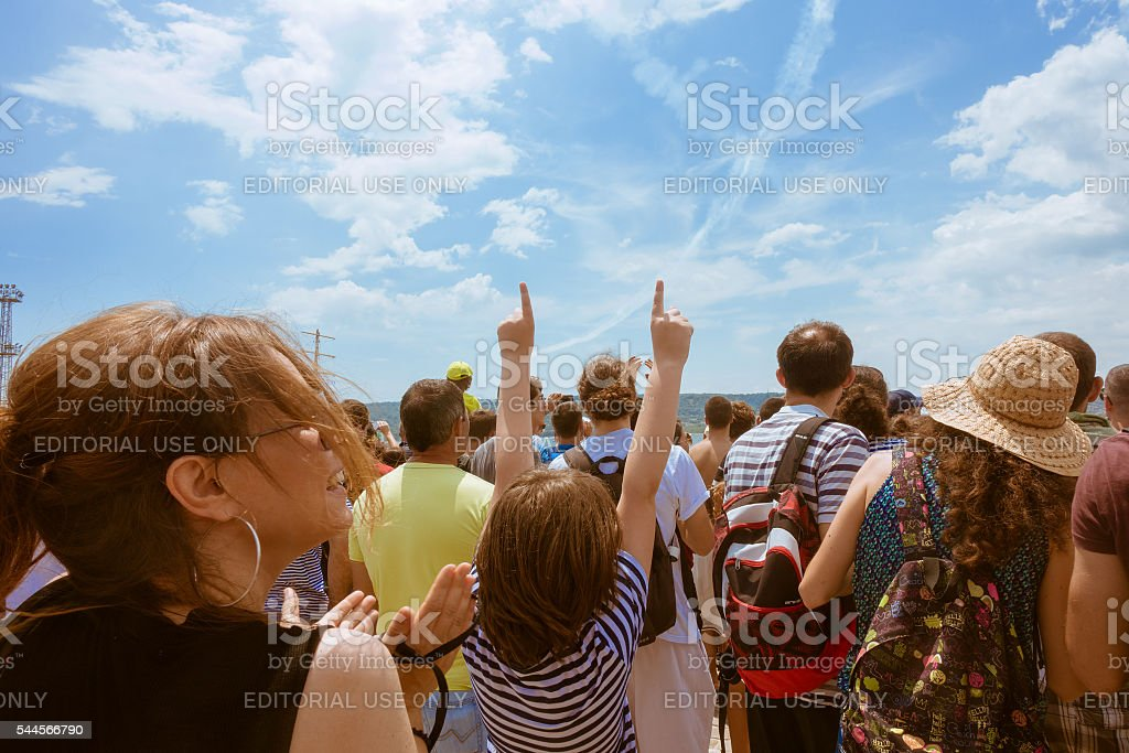Red Bull Flugtag 2016 in Varna. Spectators enjoy the airshow stock photo