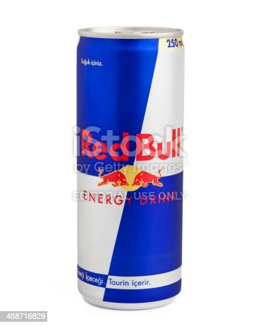 Istanbul, Turkey - May 22, 2011: A can of Red Bull isolated on white background. Red Bull is an energy drink sold by the Austrian Red Bull GmbH. Red Bull is sold in a tall and slim blue-silver can.