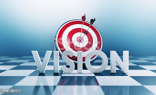 Red bulls eye target and vision text standing on chess board. Horizontal composition with copy space. Vision concept.