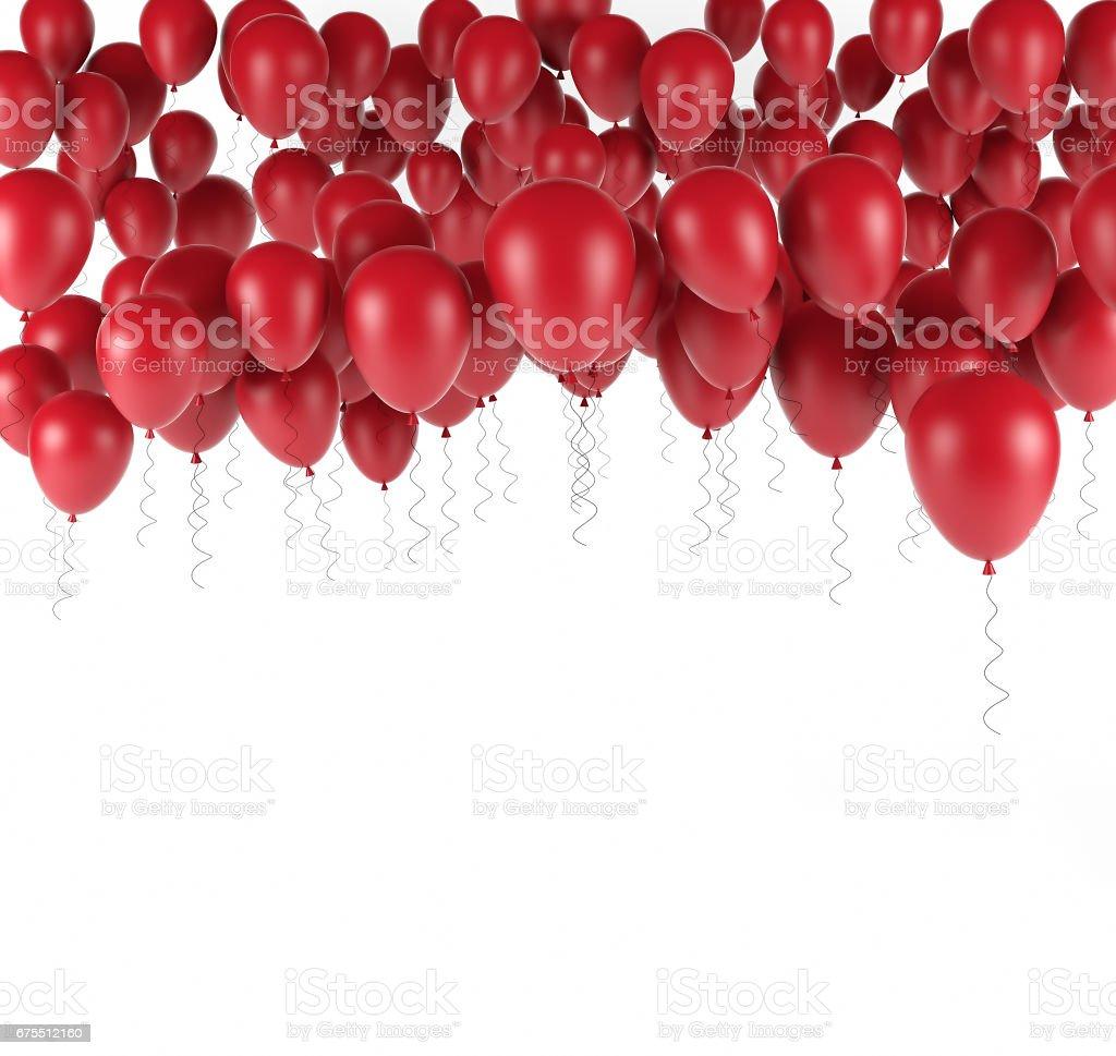 Doğum günü balonları beyaz izole kırmızı grup. 3D render royalty-free stock photo
