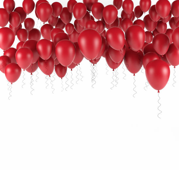 Red bunch of Birthday balloons isolated in white. 3d render stock photo