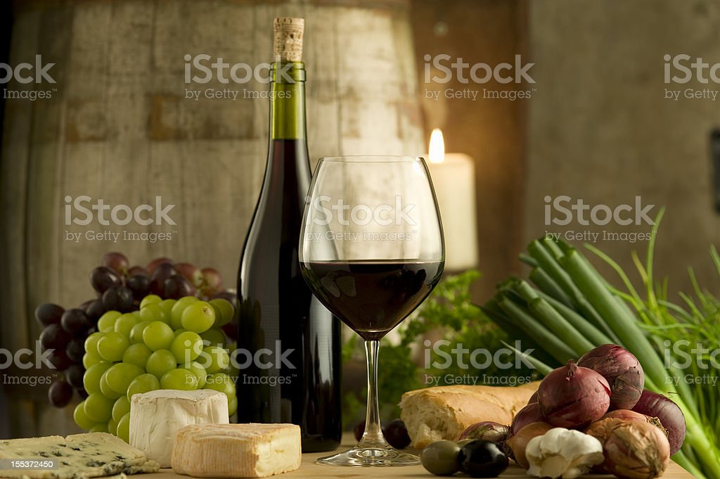 Red burgundy wine and food, French style royalty-free stock photo