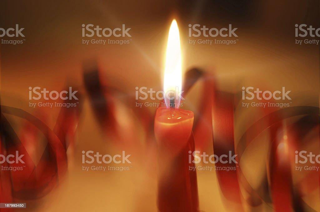 red burning Christmas - candle stock photo