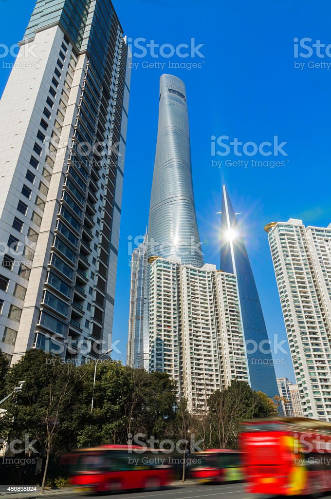 Red bus drive in Shanghai lujiazui financial district stock photo