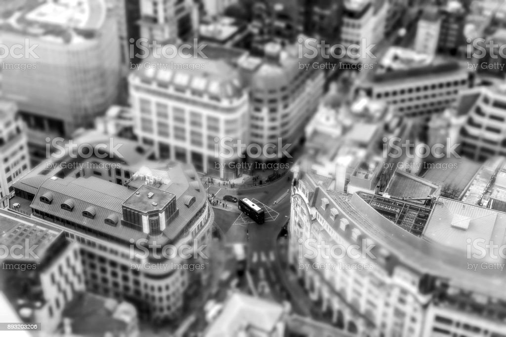 Red Bus London City Aerial View Tilt stock photo