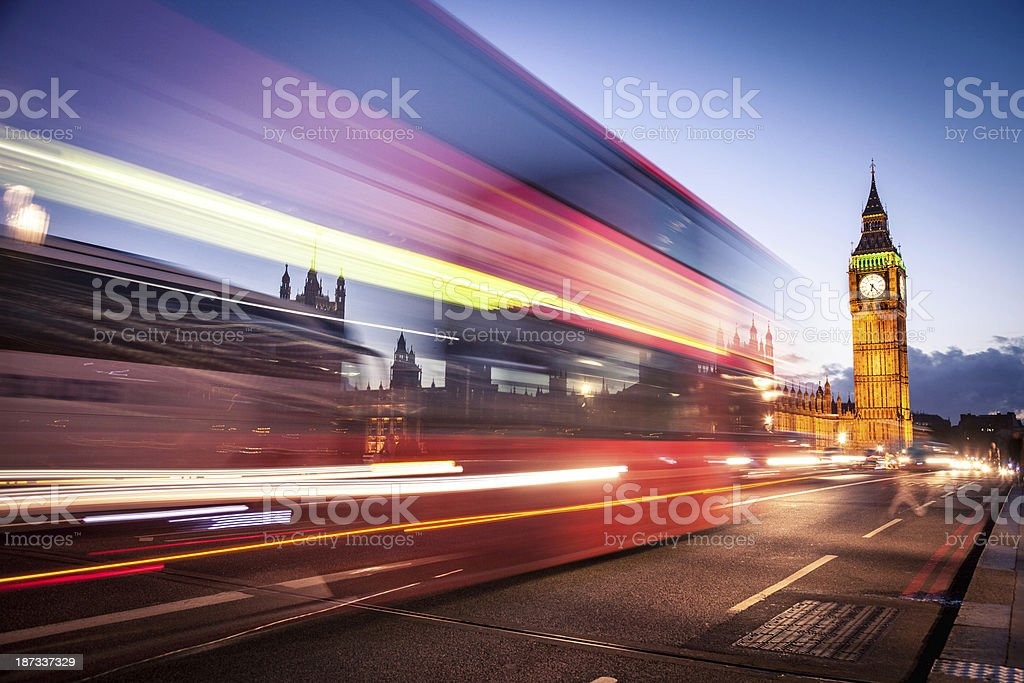 Red bus on Westminster Bridge stock photo
