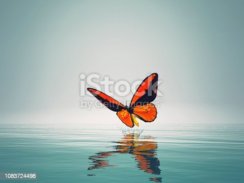 istock A red butterfly on sea. This is a 3d render illustration 1083724498