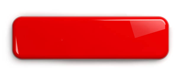 Red Button Isolated on White Red Button. Rectangular Shiny Plate Isolated on White. Clipping path included. 3D illustration. push button stock pictures, royalty-free photos & images