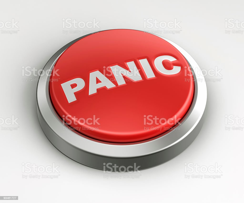 Red button - Panic stock photo