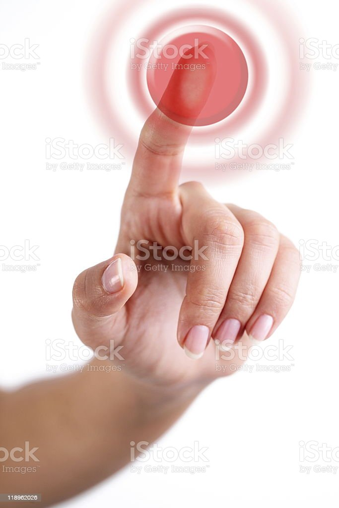 Red button pushed with finger royalty-free stock photo