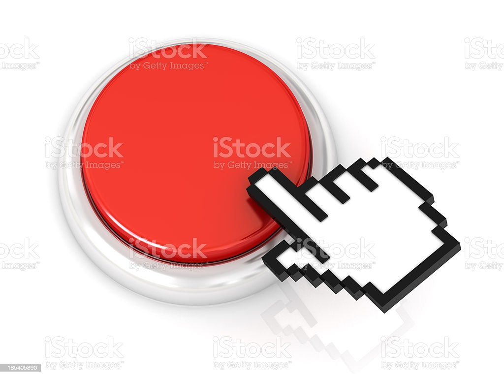 red button with hand cursor royalty-free stock photo