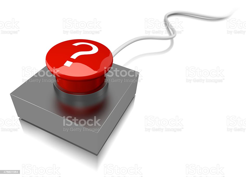 Red buzzer button on cable stock photo