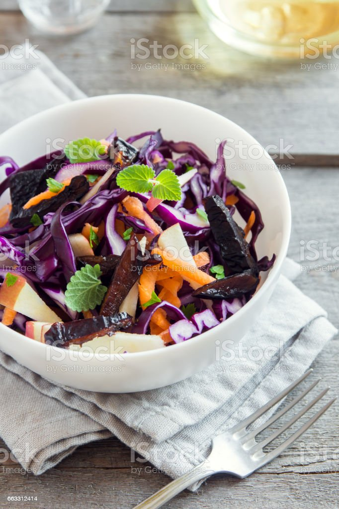 Red Cabbage Coleslaw Salad stock photo