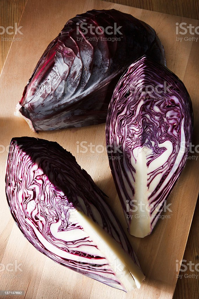 Red cabbage composition stock photo