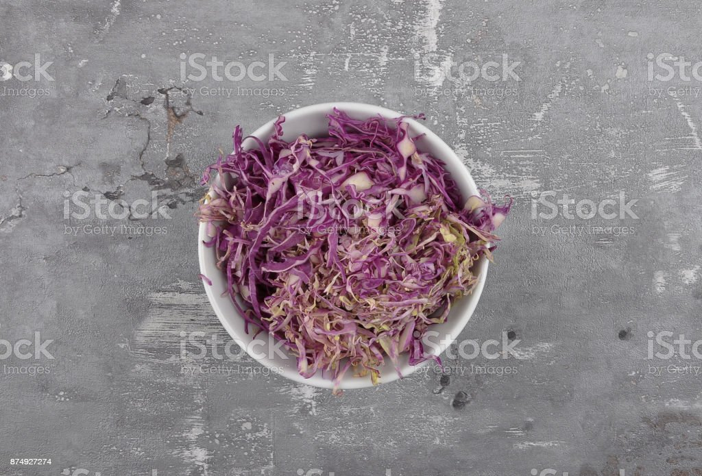 Red cabbage on concrete stock photo