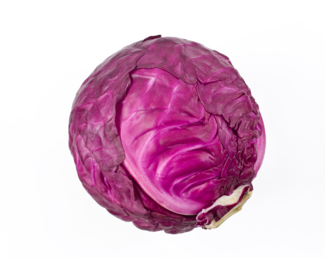 Red cabbage on white background.