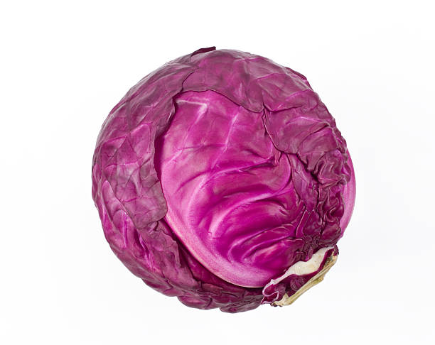 Red Cabbage Red cabbage on white background. cabbage stock pictures, royalty-free photos & images