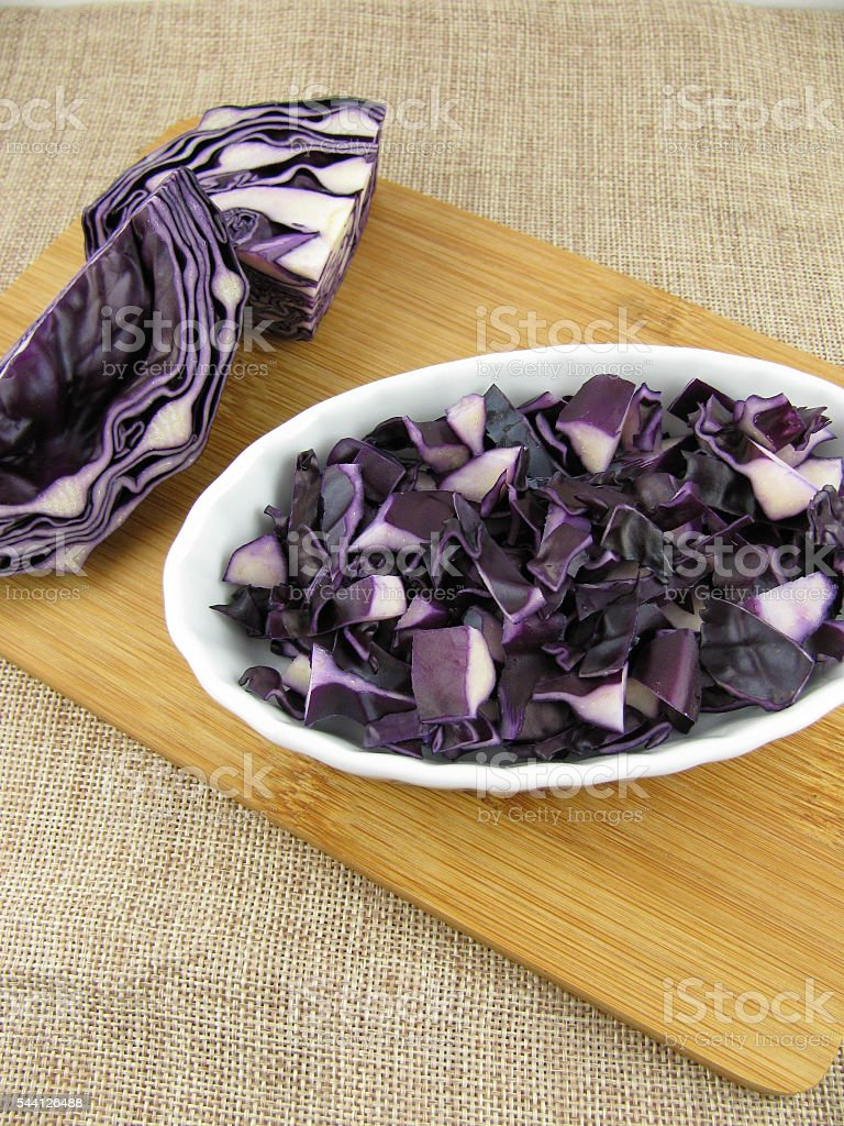 Red cabbage ready for cooking stock photo