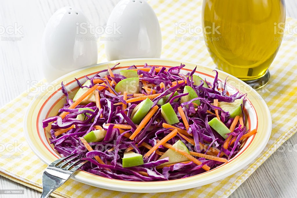 Red cabbage salad stock photo