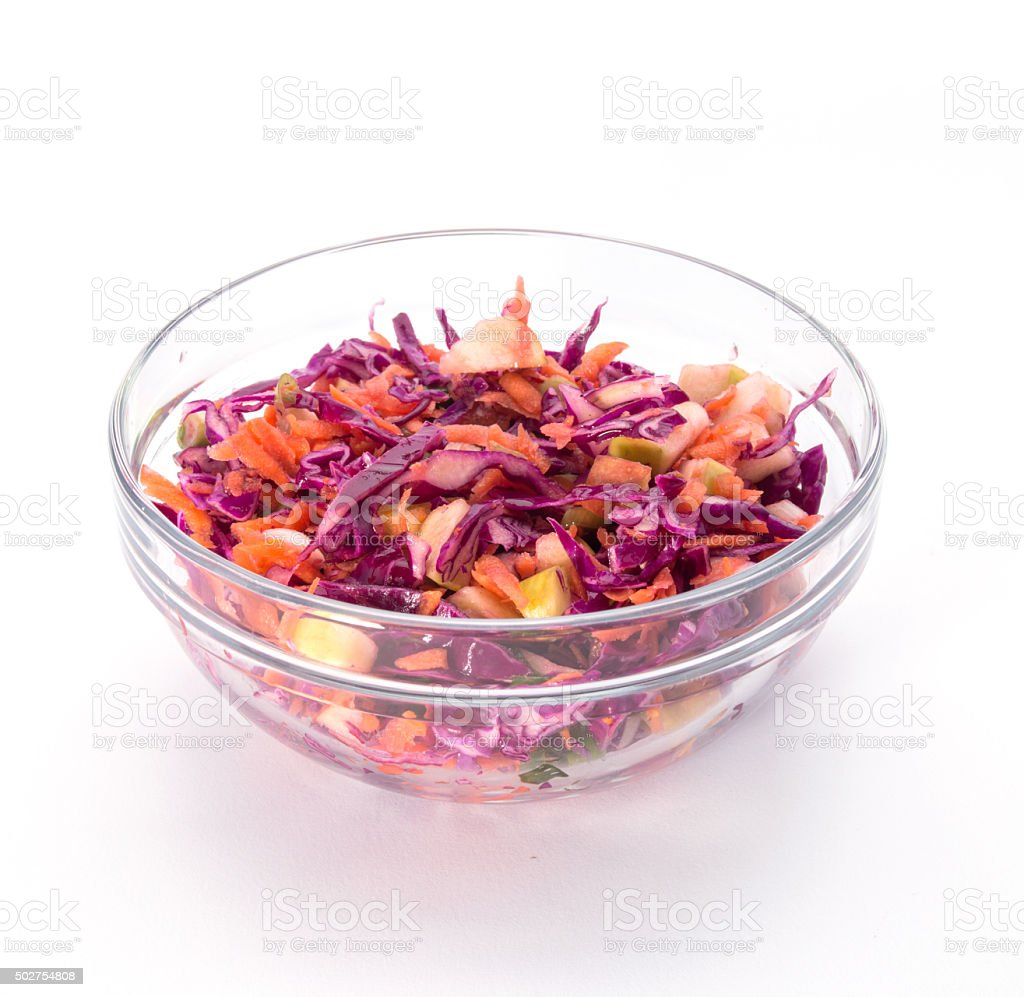 Red cabbage salad with orange dressing stock photo
