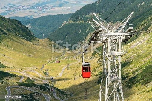 Cable car to Balea Lake over the famous  mountain Transfagarasan Road in Romanian Carpathian Moutains