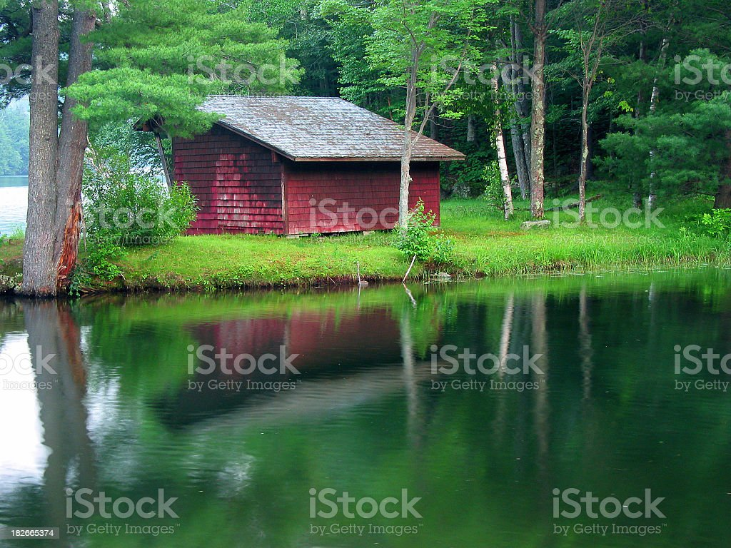 Red Cabin stock photo