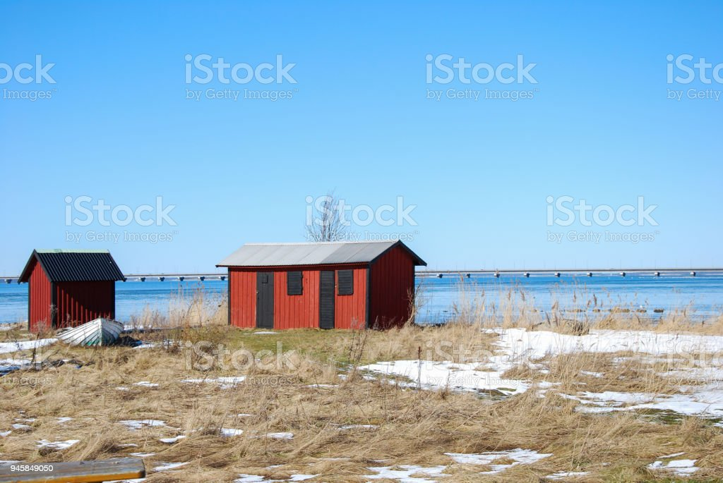 Red Cabins By The Coast Stock Photo More Pictures Of