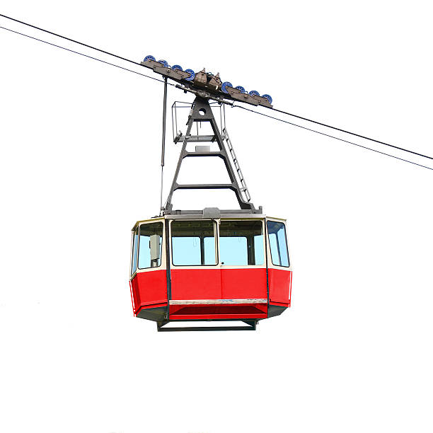Red cable car isolated on white background. – Foto