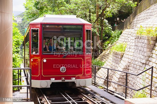 Hong Kong - July 15, 2017: Red cable train carriage of The Peak Tram, it is a funicular railway in Hong Kong city